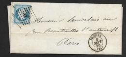 Seine Et Marne-Lettre-Petit Chiffre 2582 De Provins Sur N°14A - 1849-1876: Période Classique