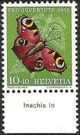 """Schweiz Suisse 1955: Pro Juventute Zu 159 Mi 619 Yv 568 ** MNH + TAB Latinum """"Inachis Io"""" (SBK CHF 4.00) - Farfalle"""