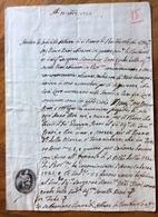 BARBAROLO LOIANO 15/10/1725 MANOSCRITTO  SIGILLO PARROCCHIALE E ATTO NOTARILE CON TABELLIONATO RRR V.nota - Documenti Storici