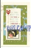 St Valentin. Darling Valentine. Jeune Femme. Gaufrée. 1911 - Saint-Valentin