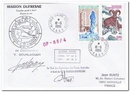 Frans Antarctica 1986, Animals, Letter To Marseille - Franse Zuidelijke En Antarctische Gebieden (TAAF)