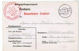 PRISONNIER DE GUERRE CP 1940 OFLAG XIIIA = HOHENFELD NUREMBERG => ZONE OCCUPE COTE D OR MIREBEAU SUR BEZE - Marcophilie (Lettres)