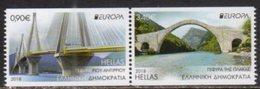 GREECE, 2018, MNH, CASTLES, EUROPA 2018, BRIDGES, MOUNTAINS,  2v IMPERFORATE Ex. BOOKLET - 2018