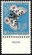 """Schweiz Suisse  Pro Juventute 1955: Zu 162 Mi 622 Yv 571 ** MNH + TAB Deutsch""""""""Apollo"""" (SBK CHF 15.00) - Farfalle"""