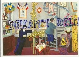 """Lennart Jirlow """"Le Petit Hôtel"""".  Bar, Facteur, Drapeaux,...Editions Cartes D'art - Peintures & Tableaux"""
