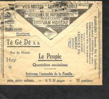 Belgique. Env. CCP  1932  Pub Journal Le Peuple, Tabacs Loncke Aalbeke, Hache-viande TéBédé Huy, Papiers Van Hoecke - Belgique