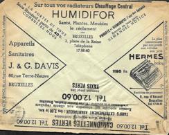 Belgique. Env. CCP 1937  Pub  Appareils Sanitaires Davis, Hermes Baby, Camionnettes Vertes, Bandes Gommées Ready - Belgique