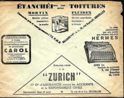Belgique. Env. CCP 1938  Pub  Onguent Carol, Mortix  Fluidex, Machines à écrire Hermes, Assurances Zurich, Pavés Comagra - Belgique