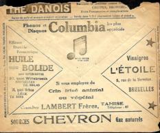 Belgique. Env. CCP 1928  Pub Thé Danois, Disques Columbia, Vinaigre L'Etoile, Source Chevron, Huile Bolide, Crins - Belgique