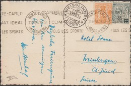 Monaco 1936 Y&T 72 Et 75, 5 C Et 85 C (surchargé) Albert Ier Et Armoiries Sur Carte Pour La Suisse. Tous Les Sports... - Monaco