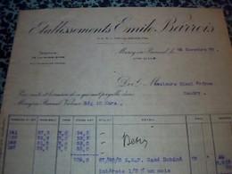 Facture Textille  Annèe 1932 Etablissements Emile Barrois Textille A Marc En Baroeul - Vestiario & Tessile