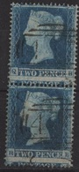 GREAT BRITAIN  YT N°9 OBLITERATED VERTICAL PAIR  MISPERF ERROR - 1840-1901 (Victoria)