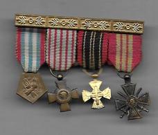 Guerre De 40 - Barrette De 4 Médailles En Réduction - France