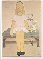 Petite Fille Assise Sur Un Banc Avec Une Poupée. Signée A. Bosquet - Scènes & Paysages