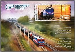 ROMANIA 2019: TRAINS - ELECTRIC LOCOMOTIVES Mint Block - Registered Shipping! Envoi Enregistre! - Treni