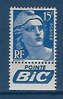 """FR YT 886a Pub BIC """" Marianne Gandon 15F Outremer """" 1951 Neuf** - France"""