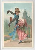 Caricature De Femme Dansant Avec Un éventail, Robe Et Grosses Fleurs. - Chromos