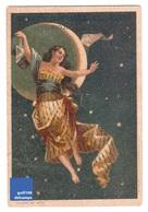 Jolie Chromo Magasins Du Louvre Bordeaux Vieillemard éclipse De Lune Femme Astrologie étoile Victorian Trade Card A6-76 - Autres