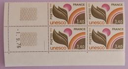 """FRANCE SERVICE YT 52 NEUFS**MNH BLOC DE 4 AVEC COIN DATE"""" UNESCO """"01/09/1976 RARE - Service"""