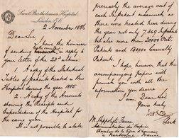 VP14.797 - Saint Bartholomeus Hospital LONDON 1886 - Lettre De Mr ? à Mr H. FAURE Administrateur Des Hospices à NARBONNE - Manuscrits