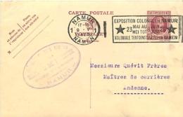 Belgique. CP 68 Namur 1 > Andenne 1925  Flamme Exposition Coloniale De Namur    Taches, Coin Sup. Gauche Légèrement Plié - 1922-1927 Houyoux