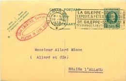Belgique.  CP 83 I Verviers 2 > Braine-l'Alleud 1928 Flamme La Gileppe 50è Anniv. Exposit. & Fêtes - 1922-1927 Houyoux