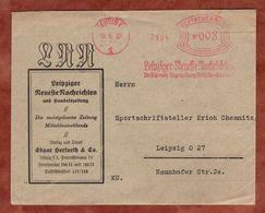 Brief, Absenderfreistempel, Leipziger Neueste Nachrichten, 8 Rpfg, Leipzig 1937 (72631) - Briefe U. Dokumente