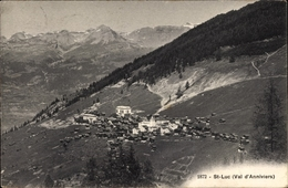 Cp St. Luc Kanton Wallis, Val D'Anniviers, Ortschaft Mit Landschaftsblick - VS Wallis