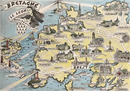 AK Bretagne,Le  Leon, Occidental,, Map, Landkarte, Geografiekarte - Maps