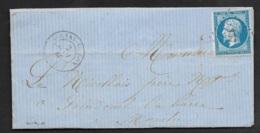 Calvados-Lettre-Petit Chiffre 177 De Aulnay Sur Odon Sur N°14A - 1849-1876: Période Classique