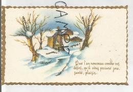 """Mignonnette. Moulin à Eau Enneigé. Oratoire Et Ferme Enneigés:""""Que L'an Nouveau Comble Vos Désirs..."""" Paillettes, Dorée. - New Year"""