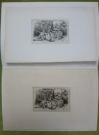 2 Ex-libris Illustrés Français XIXème - PINACOTHEQUE DE E. THIERY - Singes Savants - Bookplates