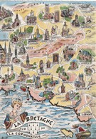 AK La Bretagne, La Cornuuaille, Map, Landkarte, Geografiekarte - Cartes Géographiques