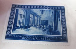 PARIS 1928 CONFERENCE ROOM  OF THE EXPORTS-HOTEL GEORGES V PARIS Timbre Vignette Erinnophilie -Neuf * - Erinnophilie