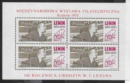 POLONIA - ESPOSIZIONE DI LENIN A CRACOVIA 1970  - FOGLIETTO NUOVO** (YVERT BF 50 - MICHEL BL 42) - Blocchi E Foglietti