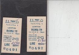 FERROVIE - 2 Biglietti Da Lentini A Roma - Europa