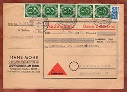 Nachnahme, Posthorn + Notopfer, Ludwigshafen Nach Pirmasens 1954 (72633) - BRD