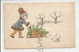 Collage De Timbres. Petite Fille Pousse Un Traîneau. Sapin Et Cadeaux - Timbres (représentations)