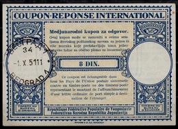 YOUGOSLAVIE / YUGOSLAVIA Lo14  Rep. Fed. Pop. 8 DIN. International Reply Coupon Reponse IAS IRC Antwortschein O BEOGRAD - Ganzsachen