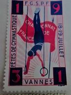 1931 VANNES CHAMPIONNAT DE FRANCE GYMNASTIQUE F.G.S.P.F  Timbre Vignette Erinnophilie -Neuf * - Commemorative Labels