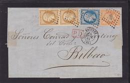 Paire 13B+14B+16 Lettre BAYONNE/BILBAO Sig. ROUMET - 4 Photos Voir Descriptif - - 1849-1876: Période Classique