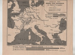 Croquis Des Grandes Voies Navigables Du Centre Européen Fonné 1931 - Maps