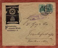 Illustrierter Umschlag Friedrichs Gummi-Absaetze, Germania, Zensur, Strassburg Nach Frankfurt 1915 (72635) - Deutschland