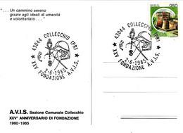ITALIA - 1985 COLLECCHIO (PR) XXV Fondazione AVIS Su Cartolina Speciale - Francobolli