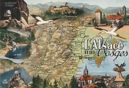 AK L'Alsace Et Les Vosges, Map, Landkarte, Geografiekarte - Cartes Géographiques