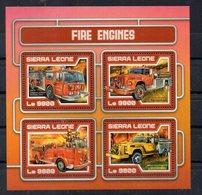SIERRA-LEONE - CAMIONS DE POMPIERS - FIRE ENGINES - B/F - M/S - 2017 - 4 Timbres - - Sierra Leone (1961-...)