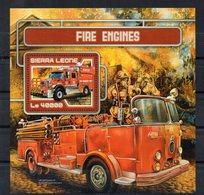 SIERRA-LEONE - CAMIONS DE POMPIERS - FIRE ENGINES - B/F - M/S - 2017 - 1 Timbre - - Sierra Leone (1961-...)