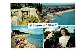 Cpsm - 56 - Le Bonjour De CARNAC - Dolmens Club Nautique Coiffe Dentelle - 1973 - Jean 23.102 - Carnac
