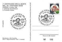 ITALIA - 1986 FIDENZA (PR) Cent. Morte Di GIOVANNI ROSSI Compositore - 6^ Mostra Filatelica Su Cartolina Speciale - Esposizioni Filateliche