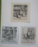 Belle Et Rare Série  De 5 Ex-libris Illustrés Français XIXème - C. E. THIERY Artiste Peintre Sur Le Thème Des Enfants - Ex-libris